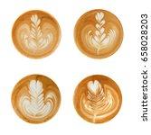 Latte Art Shapes On White...