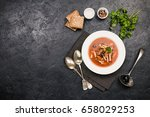 soup with meat  olives  herbs ... | Shutterstock . vector #658029253