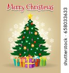 cartoon christmas tree card... | Shutterstock .eps vector #658033633