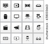 set of 16 editable movie icons. ... | Shutterstock .eps vector #658033663