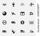 set of 16 editable mixed icons. ... | Shutterstock .eps vector #658033897