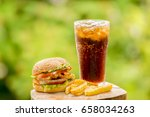 cola and hamburgers. fries and... | Shutterstock . vector #658034263