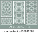 decorative panels set for laser ... | Shutterstock .eps vector #658042387