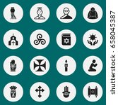 set of 16 editable faith icons. ...
