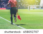 lineman assistant referee with... | Shutterstock . vector #658052707