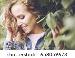 Stock photo natural beauty of women between leaves 658059673