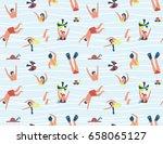 Summer Seamless Pattern. Peopl...
