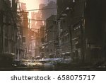 scenery of dirty street in... | Shutterstock . vector #658075717