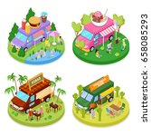 isometric street food truck set ... | Shutterstock .eps vector #658085293