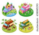 isometric street food truck set ...   Shutterstock .eps vector #658085293