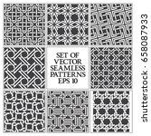 set of monochrome seamless... | Shutterstock .eps vector #658087933