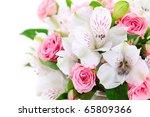 flower border on white isolated ... | Shutterstock . vector #65809366