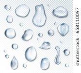 realistic water drops set | Shutterstock .eps vector #658110097