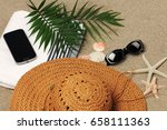 beach vacation accessories | Shutterstock . vector #658111363