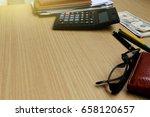 office desk with us dollars ... | Shutterstock . vector #658120657