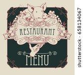 vector restaurant menu with a... | Shutterstock .eps vector #658134067