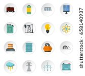 energy sources icons set in... | Shutterstock .eps vector #658140937