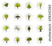green tree icons set. flat...