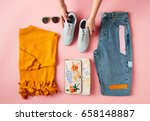 hands arranging flat lay shot... | Shutterstock . vector #658148887