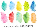 Set Of Watercolor Brushes On...