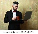 bearded project manager with... | Shutterstock . vector #658153897