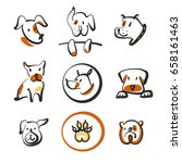 freehand drawing image face dog ... | Shutterstock .eps vector #658161463