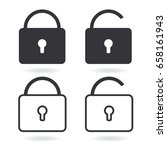 vector lock line icon and black ...