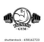 fitness emblems  muscle armss ... | Shutterstock .eps vector #658162723