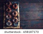 mini chocolate kugelhopf served ...   Shutterstock . vector #658187173