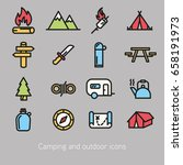 camping and outdoor icon... | Shutterstock .eps vector #658191973