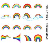 16 different colored rainbows... | Shutterstock .eps vector #658197403