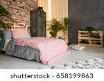 feminine bedroom space in... | Shutterstock . vector #658199863