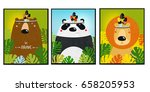 Stock vector posters with animals cartoon characters cartoon animals lion bear panda 658205953