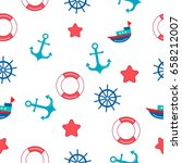 seamless kids nautical pattern. ... | Shutterstock .eps vector #658212007