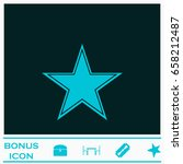 star icon flat. blue pictogram...