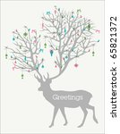 holiday greetings  silhouette... | Shutterstock .eps vector #65821372