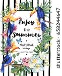 tropical summer exotic vertical ... | Shutterstock .eps vector #658244647