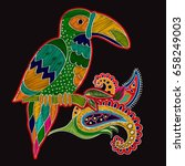 vector embroidery oriental... | Shutterstock .eps vector #658249003