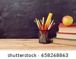 back to school background with... | Shutterstock . vector #658268863
