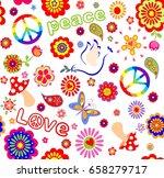 childish wallpaper with hippie... | Shutterstock .eps vector #658279717