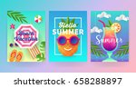 summer banner template set with ... | Shutterstock .eps vector #658288897