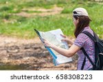 female hikers with backpacks... | Shutterstock . vector #658308223