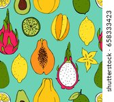 fruit. seamless vector pattern | Shutterstock .eps vector #658333423