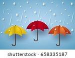 Colorful Umbrella With Rain  ...