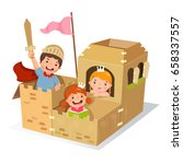 creative kids playing castle... | Shutterstock .eps vector #658337557