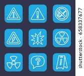 hazard icon. set of 9 outline... | Shutterstock .eps vector #658337677