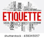 etiquette word cloud collage ... | Shutterstock .eps vector #658345057