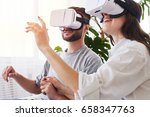 close up of woman and man in vr ... | Shutterstock . vector #658347763