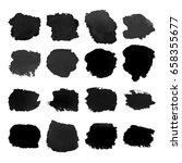 set of black watercolor hand... | Shutterstock .eps vector #658355677