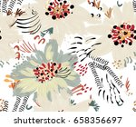 roughly drawn spring flowers... | Shutterstock .eps vector #658356697